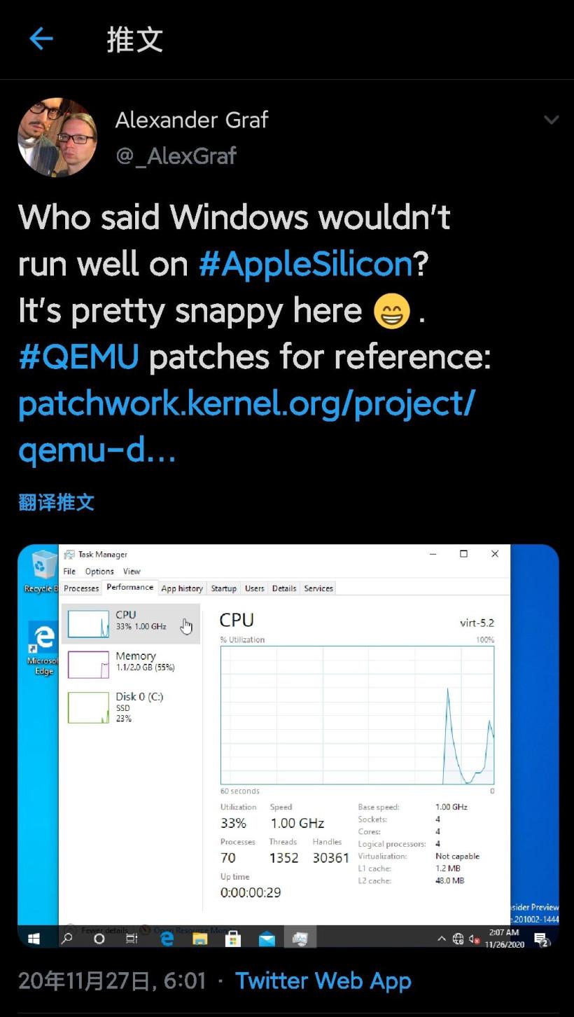 开发者在苹果M1 Mac上成功虚拟化运行Win10 ARM