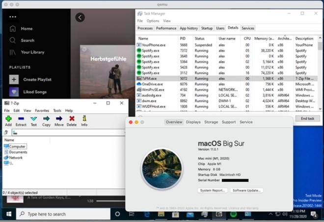 M1 Mac运行win10的网卡、声卡和多款x86软件已正常运行