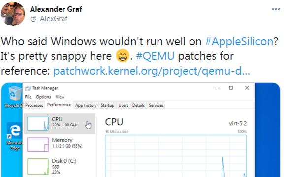 开发者成功在M1 Mac上虚拟化运行Window...