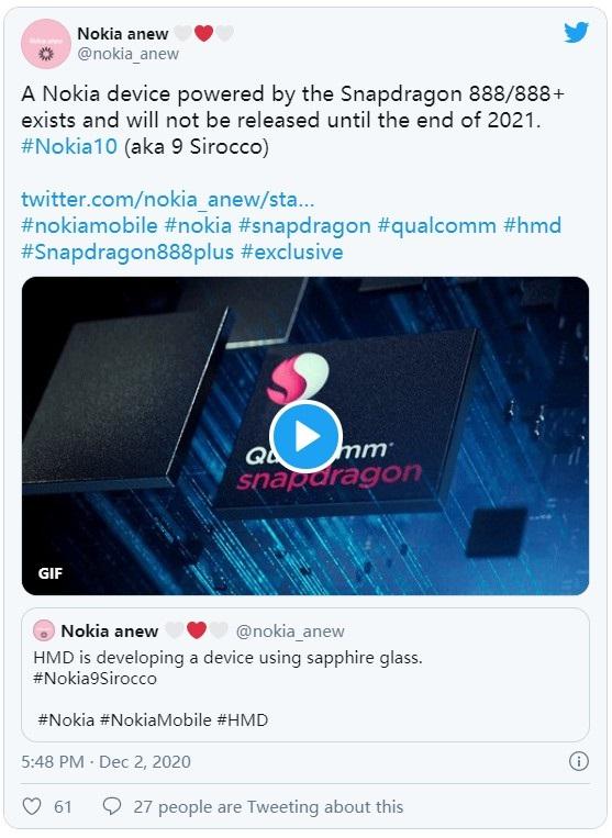 消息称诺基亚10将搭载高通骁龙888处理器