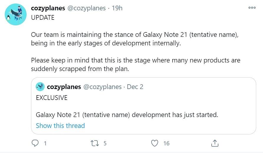 消息称三星Galaxy Note21处于开发阶段
