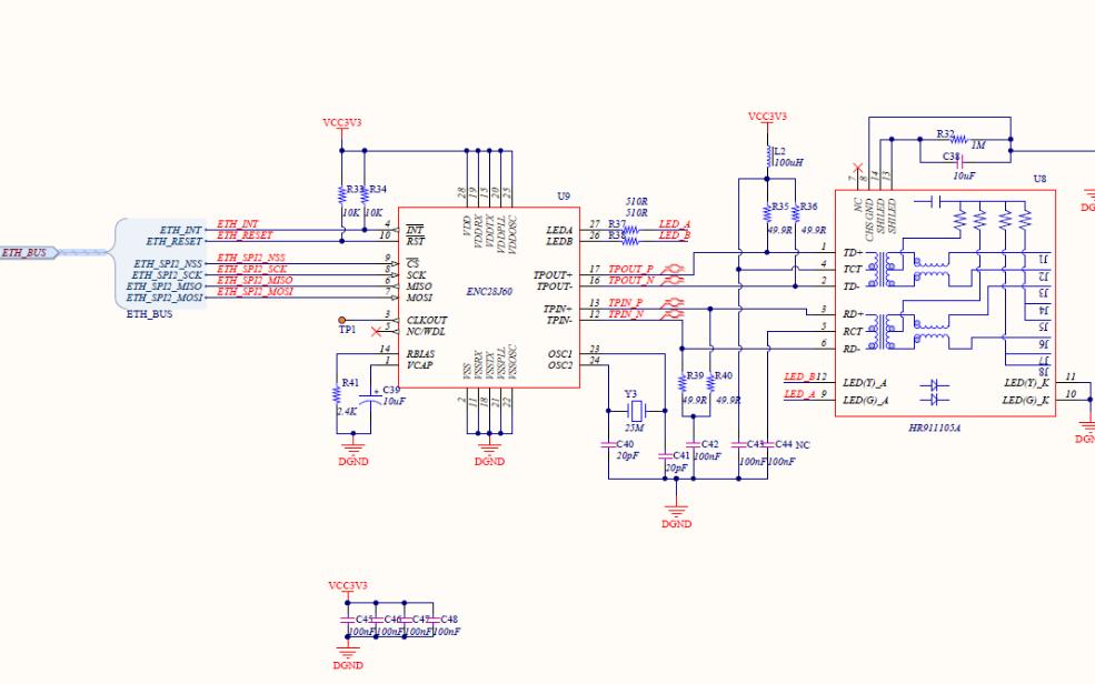 ENC28J60以太網控制器的電路原理圖免費下載