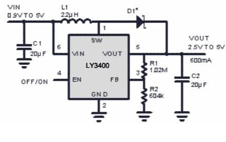 LY3400高效率PWM同步升壓DCDC轉換器的數據手冊免費下載