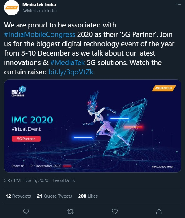 联发科宣布即将在印度举行IMC2020大会