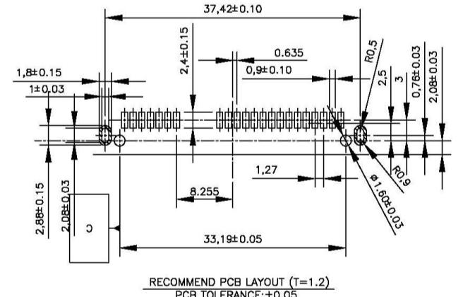 SATA連接器7+15PH4.2母座板下型的規格原理圖免費下載