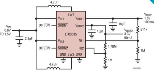同步升壓型DC/DC轉換器LTC3535的功能特性及應用范圍