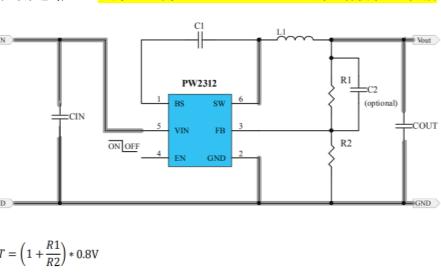 PW2312同步降压调节器的数据手册
