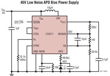 升壓型DC/DC轉換器LT3571的功能特性及應用范圍