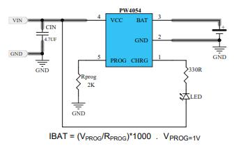 PW4054單節鋰離子電池恒流恒壓線性充電器的數據手冊免費下載