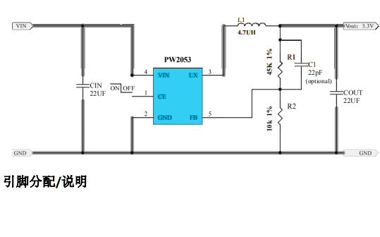 PW2053同步降压调节器的数据手册免费下载