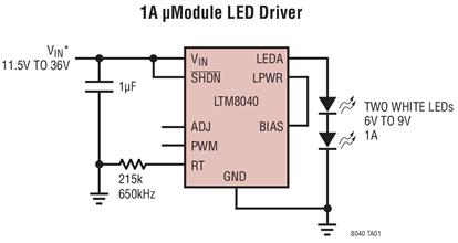 DC/DC微型模块LED驱动器LTM8040的性...