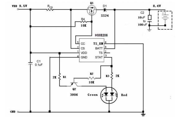 HM8206高精度线性锂电池充电器控制电路的数据手册免费下载