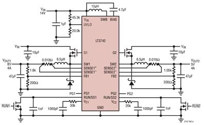 开关稳压器DC/DC控制器LT3742的性能特点及应用范围