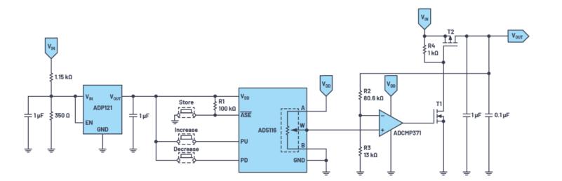 使用按钮式数字电位器的可调电压输出设计