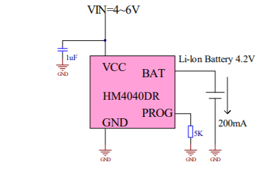 HM4040DR線性鋰離子電池充電器芯片的數據手冊