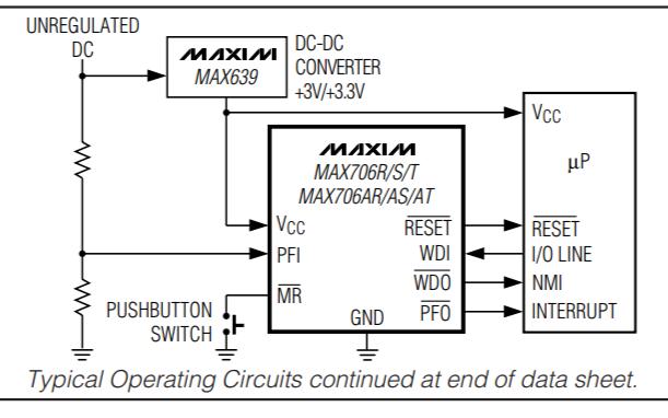 MAX706AP和MAX708T微处理器监控电路的数据手册免费下载