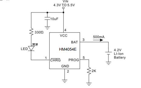 HM4054E單節鋰離子電池恒流恒壓線性充電器芯片的數據手冊