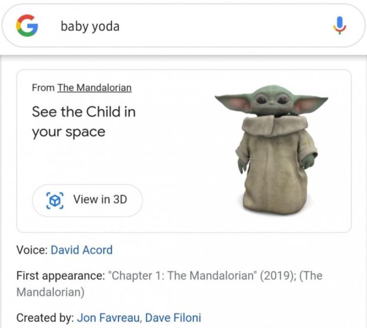 通过3D模型和AR技术可接触尤达宝宝