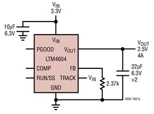 DC/DC微型模塊穩壓器LTM4604的性能特點及應用分析