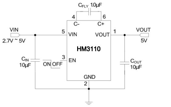 HM3110低噪声电荷泵DCDC转换器的数据手册免费下载