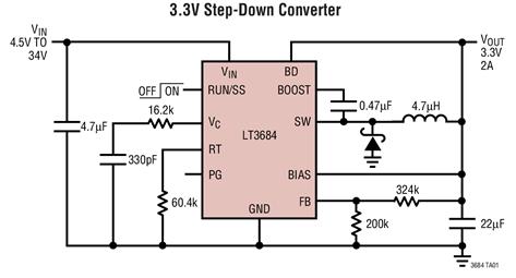 2.8MHz降压型DC/DC转换器LT3684的性能特点及应用范围