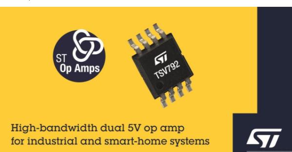 意法半导体TSV792 5V双运算放大器 适用于调理电池供电烟感器的光电二极管输出信号