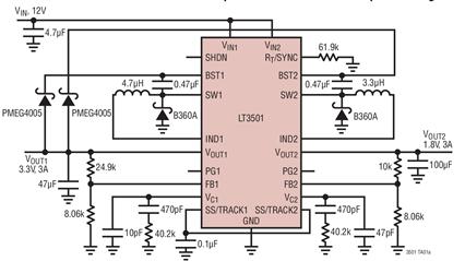 雙路電流模式DC/DC轉換器LT3501的性能特點及適用范圍