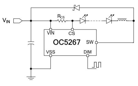 OC5267高端電流檢測降壓LED恒流驅動器的數據手冊