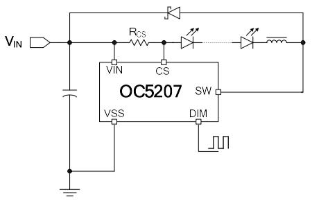 OC5207高端電流檢測降壓LED恒流驅動器的數據手冊