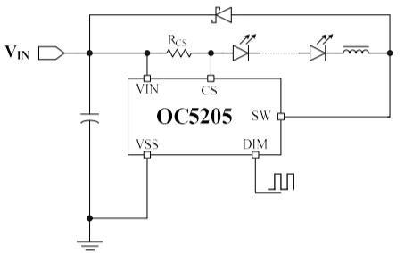 OC5205高端電流檢測降壓LED恒流驅動器的中文數據手冊