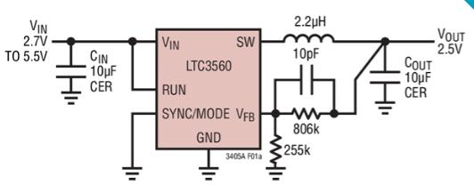 同步降壓型DC/DC轉換器LTC3560的功能特點及適用范圍