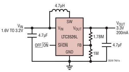 電流模式升壓DC/DC轉換器LTC3526的性能特點及適用范圍