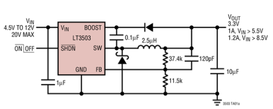 PWM降壓型DC/DC轉換器LT3503的性能特點及適用范圍