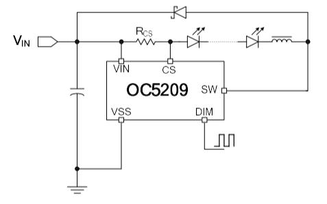 OC5209高端電流檢測降壓LED恒流驅動器的中文數據手冊