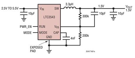 同步降壓型DC/DC轉換器LTC3543的功能特點及應用范圍