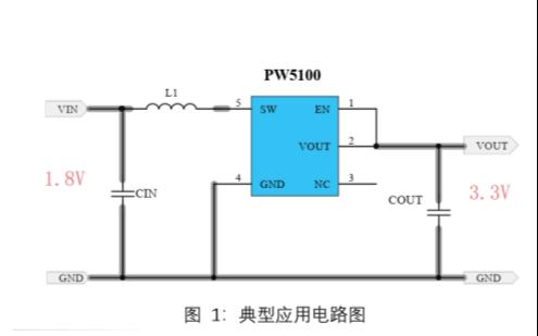 1.8V转3V和3.3V的电源芯片PW5100的数据手册和方案详细说明