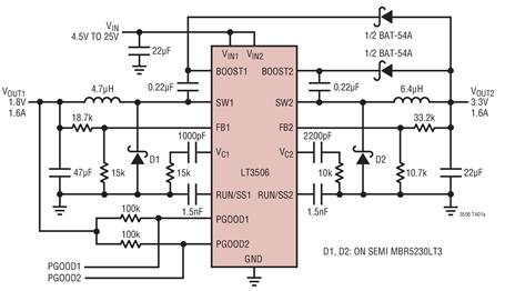 双通道降压型DC/DC转换器LT3506的性能特点及功能实现