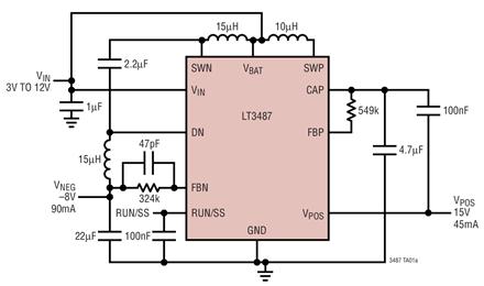 升壓/負輸出型DC/DC轉換器LT3487的性能特點及適用范圍