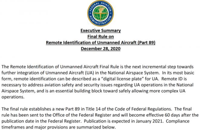 FAA公布無人機遠程識別最終規則