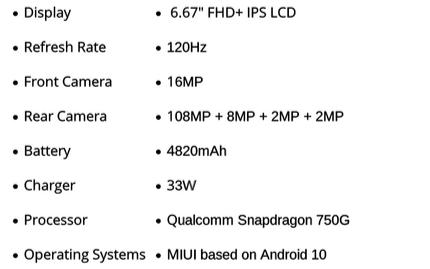 小米印度新機108MP像素 型號似乎為小米10i