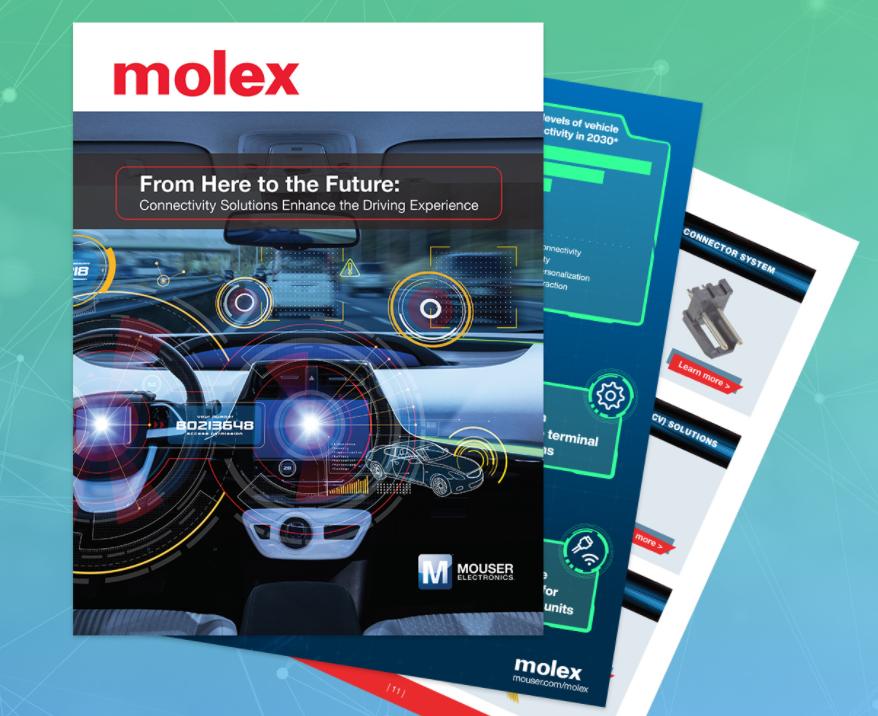 貿澤和Molex聯手推出新電子書 探索連接解決方案如何改變駕駛體驗