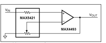 图4. 该精密放大器由精密电阻(MAX5421 IC)和通用的满摆幅运算放大器(MAX4493)组成。