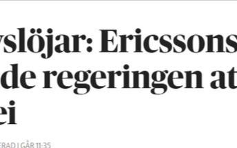 爱立信:我们的灵魂在瑞典,但公司99%营业额来自瑞典以外