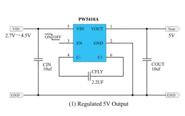 PW5410A稳压电荷泵DCDC转换器芯片的数据手册免费下载