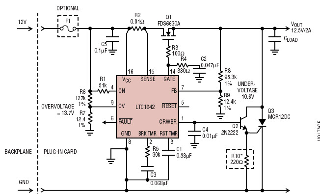 基于LTC1642-1199-mag热插拔控制器的参考设计