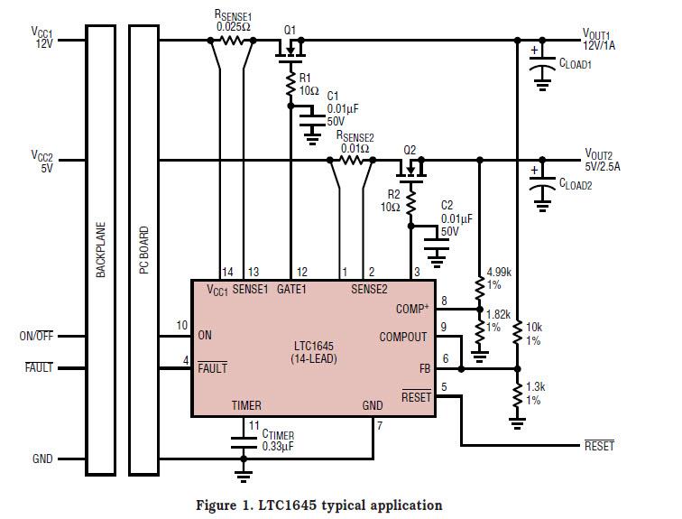 基于LTC1645-1199-mag热插拔控制器的参考设计