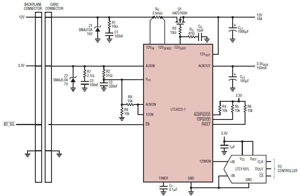 基于V18n01-08-LTC4223-Huat热插拔控制器的参考设计
