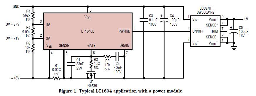 基于LT1640-0898-mag热插拔控制器的参考设计1