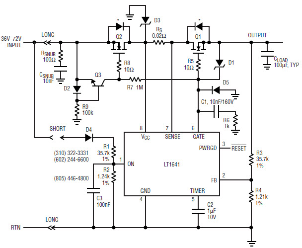 基于LT1641-0201-mag热插拔控制器的参考设计