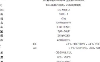 OIHVP15HF无源高压探头的参数和性能特点